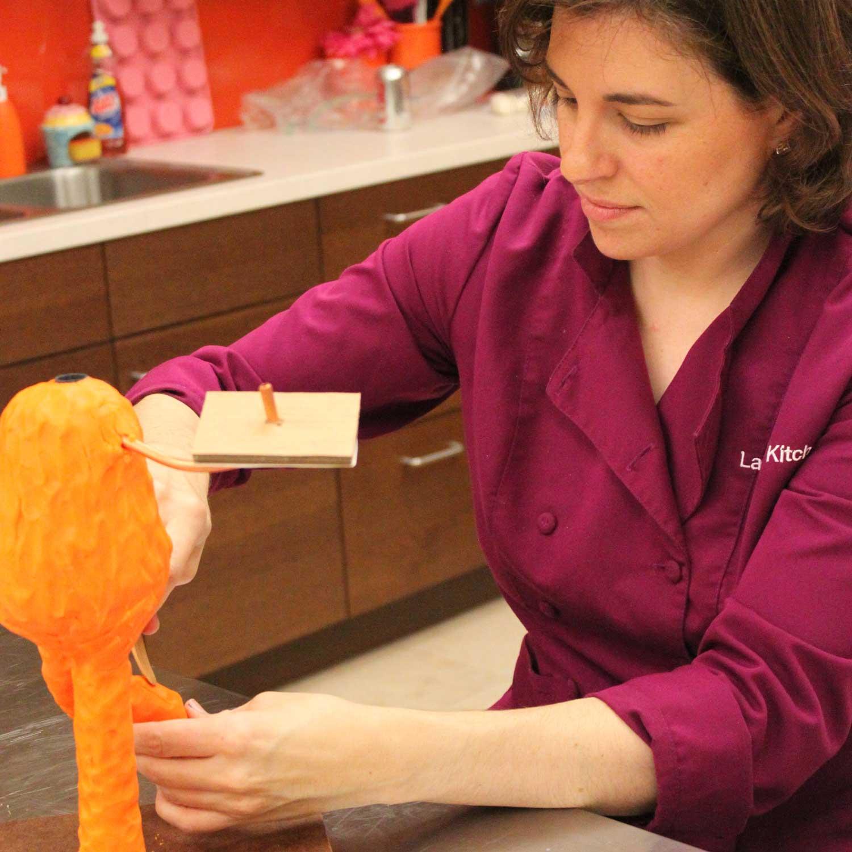 Lauren working on her monsters cake!